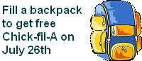 Backpack Drive on July 26th!
